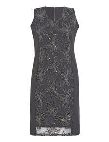 Kurzarm-Kleid mit Kunstleder Gr 46