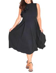 Cocktail-Kleid mit Rüschen schwarz Plus Size
