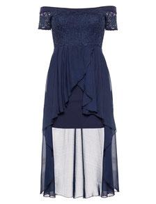 elegantes Cocktail Kleid blau für mollige Frauen