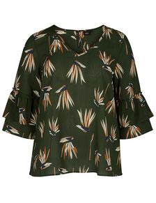Bluse mit Muster und Rüschenärmeln oliv in XL