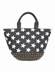 Shopper mit Sternen und Nieten schwarz