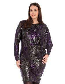elegantes Damenkleid lila in größen Größen , elegante Kleider XXL