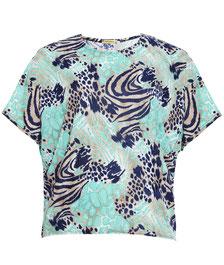 T-Shirt mollige Frau , elegantes Damen-Top XXL blau-grün Print in Gr 48