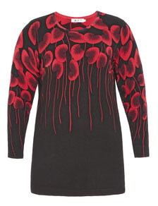 Long-Pullover mit rotem Blattmuster, schwarz  in Größe 46
