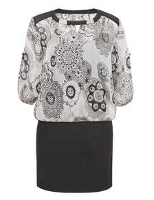 Chiffon-Kleid mit Stretchrock Gr 48