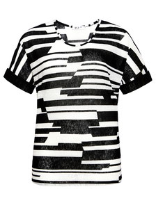 elegantes Top schwarz-weiß Grafikstreifen Gr 52