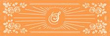 Cette image représente un visuel vintage, en orange et blanc, qui illustre le logo, la lettre S des Sabots d'Isa qui irradie