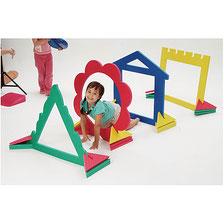 Tunnel géant de motricité pour enfants. Tunnel mousse géant enfants comprenant 4 pièces de différentes couleurs jaune, bleu, rouge vert et tailles. Tunnel à acheter au meilleur prix.