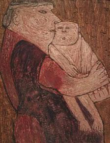 tegen een bruine achtergrond staat een moeder met een klein naakt kindje tegen haar aan, heel verstild. De vrouw draagt een roestbruin rode jurk. De structuur van het schilderij is ruw von grof opgebrachte verfstreken.