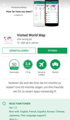 Apps, Reisen, Reiseapps, Die Traumreiser, Visited World Map