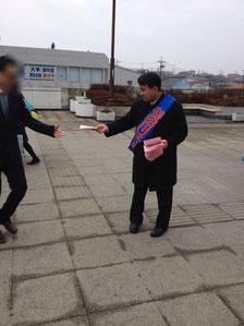 2/24 成田駅西口にて駅頭