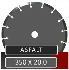 het 350mm asfalt zaagblad van prodito met diep segment voor gebruik op een benzine doorslijper van het merk stihl