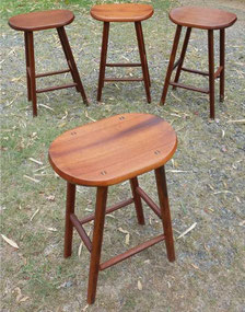 Red silky oak stools x 4. $350 each ($700)  for 2, $300 each ($900) for 3, $250 each ($1000) for  4.