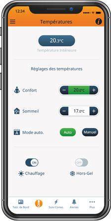Eco-Touch, notre thermostat connecté, peut se controler à distance depuis notre application gratuite.