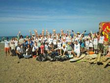 Menschen, Strand, beach, Lanzarote, Playa, Famara, COUP
