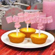 Cupcake prikker blokken BABY roze 12 st € 5,50