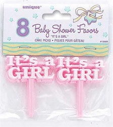 Cake topper It's A Girl 8 st € 1,95