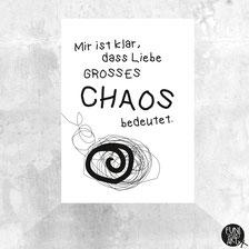 Postkarte Liebe ist Chaos