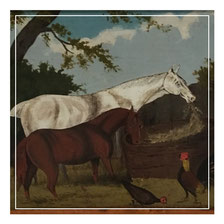 Naive painting of two horses and chickens