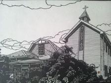 切り絵作品 名取教会と隣接の旧・小田邸
