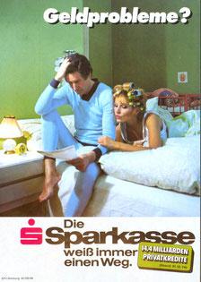 Geldprobleme? 14,4 Milliarden Privatkredite. Die Sparkasse weiß immer einen Weg (Plakat Din A4 um 1975/77).