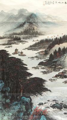 "Li Xiongcai, ""пейзаж"", тушь на бумаге, 135 х 67 см, 1988"