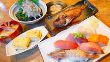 丸竹本店の寿司、定食