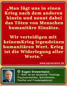 Friedenszitat von Eugen Drewermann