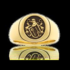 Kleiner Wappenring, ovale Form in Gelbgold mit Familienwappen von der Goldschmiede OBSESSION, Wetzikon und Zürich