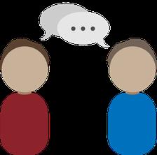 Illustration der Beratung, Zwei Menschen die sich Unterhalten.