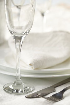 A close up picture of a place setting at the Wedding Breakfast