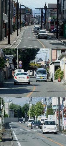上、中:旧街道、下:電車軌道跡