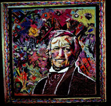 MY BELOVED WAGNER, EMBROIDERY ON CANVAS, PAINT BY RUDOLPH VOSSER, (Private Collection)