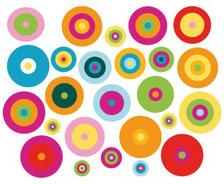 Autocollants ronds de couleurs
