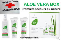 Indispensable l'aloe vera box de LR ALOE VIA, l'Emergency Spray,  le gel aloe Concentrate et la crème aloe et propolis
