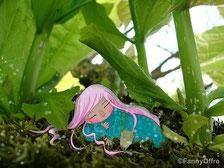Photomontage illustration petite fille endormie sous les herbes de l'illustratrice Fanny Offre pour l'interview sur le site de Cloé Perrotin