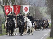 Sorbischer Brauch, Osterreiten auf dem Weg von Crostwitz nach Panschwitz Kuckau