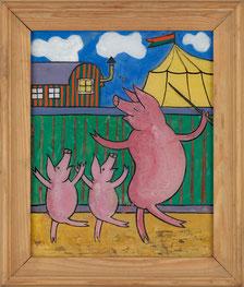 """Aus der Ausstellung: Lothar-Günther Buchheim """"Bimbina und Kompanie – die Zirkuswunderschweine"""", 1945/46 (Foto: Buchheim Museum)"""