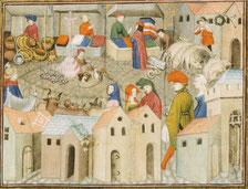Scène de foire. Miniature extraite du Chevalier errant de Thomas de Saluces, Paris vers 1403 - 1404 (BNF, ms.12559, f° 167). Temple de Paris