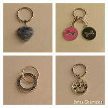 Schlüsselring mit Herz, Charm, Pfote und Kreis für Liebe, Hoffnung und Glaube