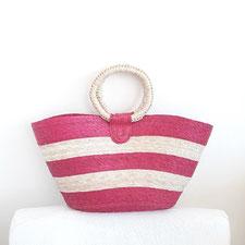 Shopper, Einkaufstasche aus Mexiko, Palmenblatt, Beachtasche, Handtasche pinke Streifen, Tasche aus Naturmaterial, Tasche aus Mexiko