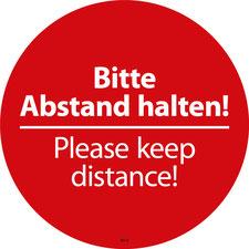 Please keep distance. Aufkleber in deutsch und englisch