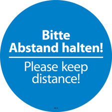 Please keep distance! Klebefolie für den Fußboden.