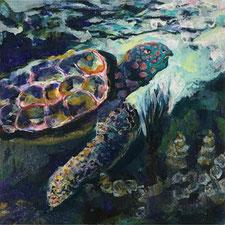 """Nine Winderlich, Malerei, """"MeeresLand""""  MeeresSchildkröte"""