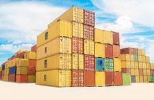Containers de couleur entreposés, évoquant la logistique