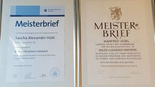 Meisterbriefe Manfred & Sascha Hübl