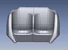 3D-model van stoeltje van een achtbaan-kar