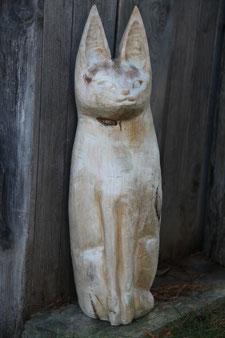 Katze, Linde, 22cm x 22cm x 75cm, 2007