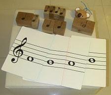 小学生向けレッスン、体験レッスンで使用する音符カード・音符の積み木