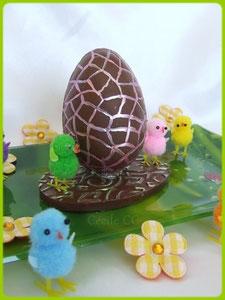 tutoriel oeuf de Pâques 3D en chocolat avec petits poussins, chic choc cake boutique en ligne cake design et patisserie pas cher, Cécile CC